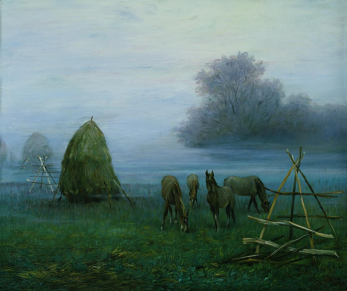 """""""Утро в деревне"""" - х.м. (50х60) - 2003 г"""