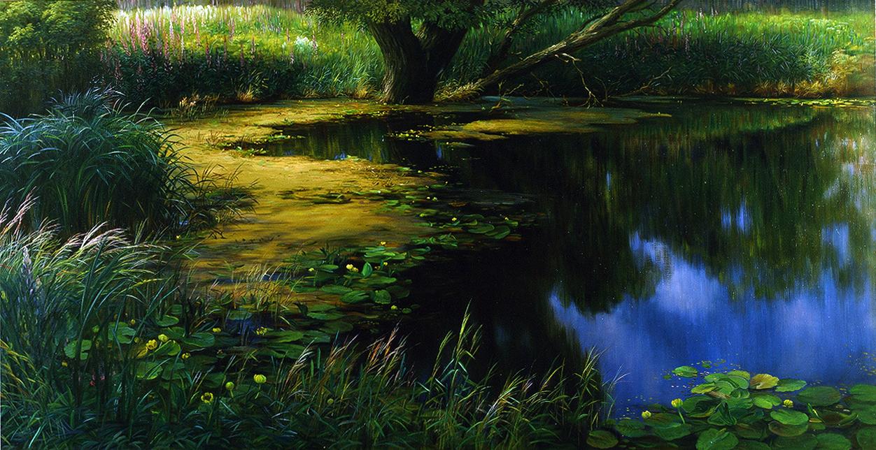 """""""Пруд цветёт"""" - х.м. (50х100) - 2009 г"""