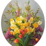 """""""Цветы к пасхе"""" - х.м. (50х70) - 2010 г"""