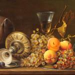 """Натюрморт с серебром и фруктами"" - х.м. (40х100) - 2009 г"