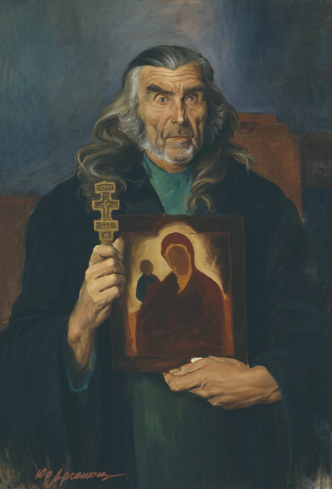 """Брат Ослябя"" - х.м. (100х80) - 1985 г"