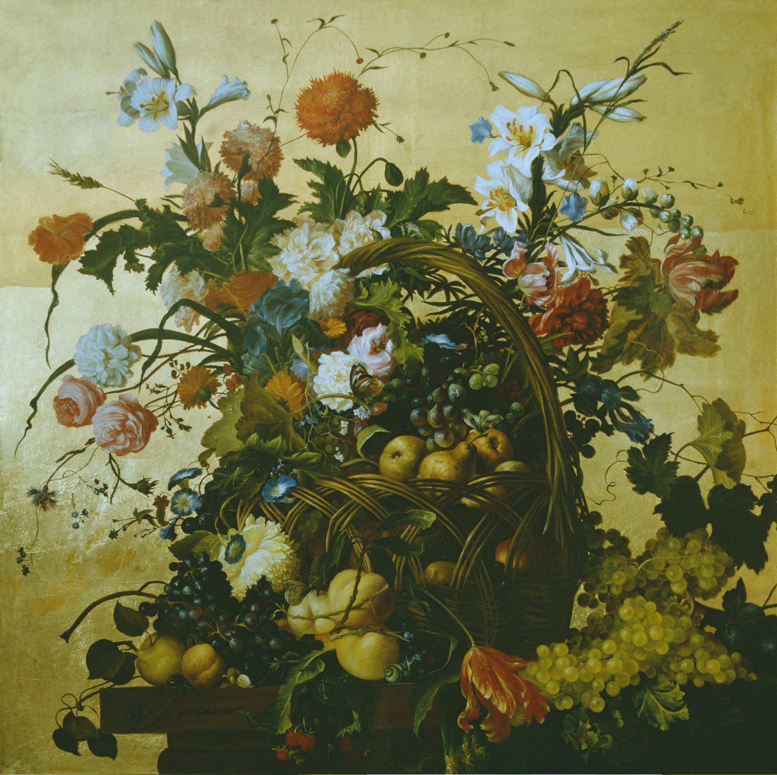 """""""Цветы и фрукты"""" - х.м. (100х100) - 1992 г"""