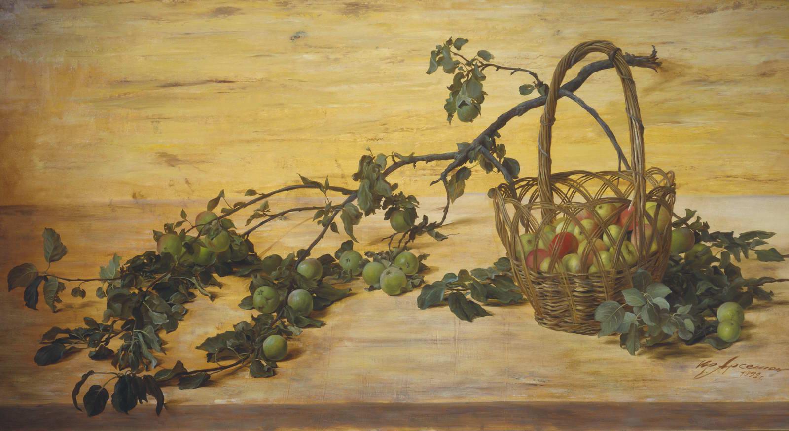 """Сломанная ветка яблони"" - х.м. (100х200) - 1992 г"