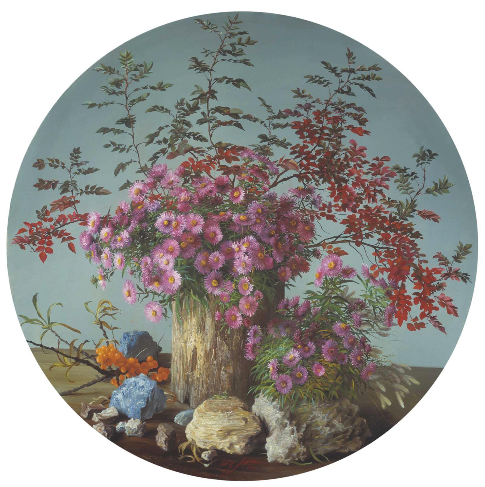 """""""Цветы и камни"""" - х.м. (∅100) - 1995 г"""