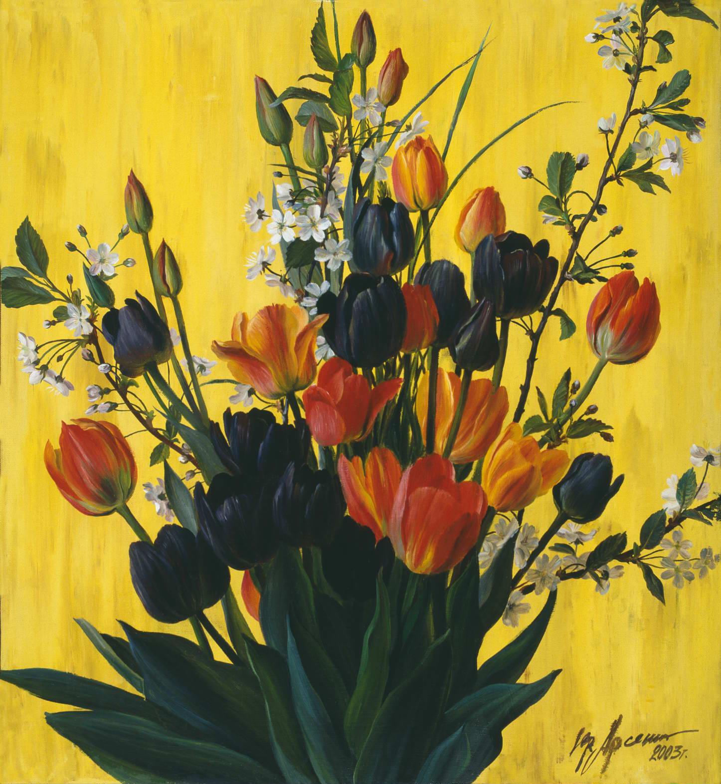"""""""Весенний букет"""" - х.м. (55х50) - 2003 г"""
