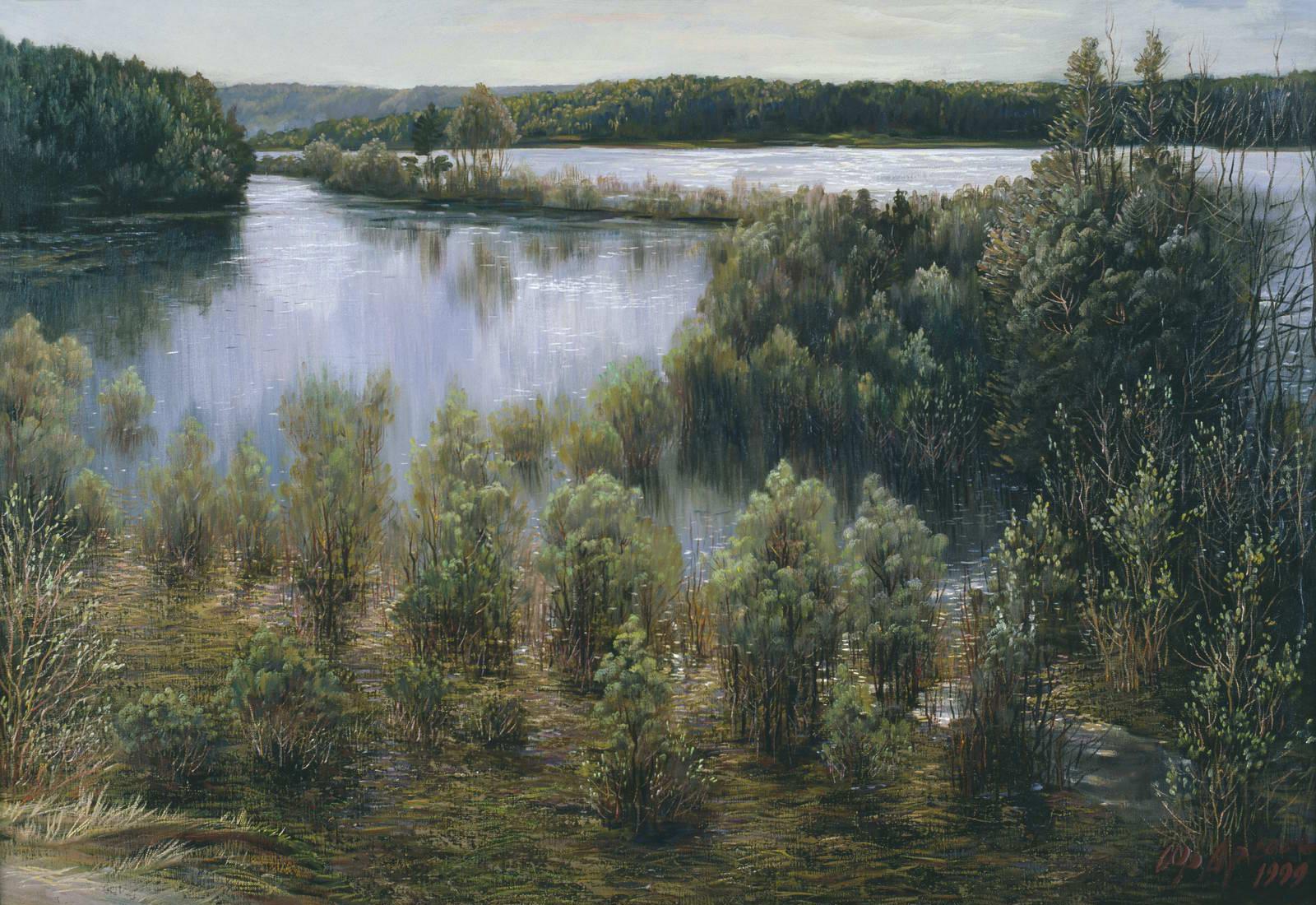 """""""Большая вода на Оке"""" - х.м. (90х100) -  2000 г"""