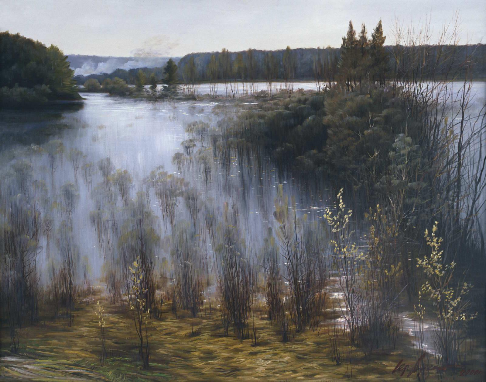 """""""Большая вода на Оке"""" - х.м. (90х100) -  1999 г"""