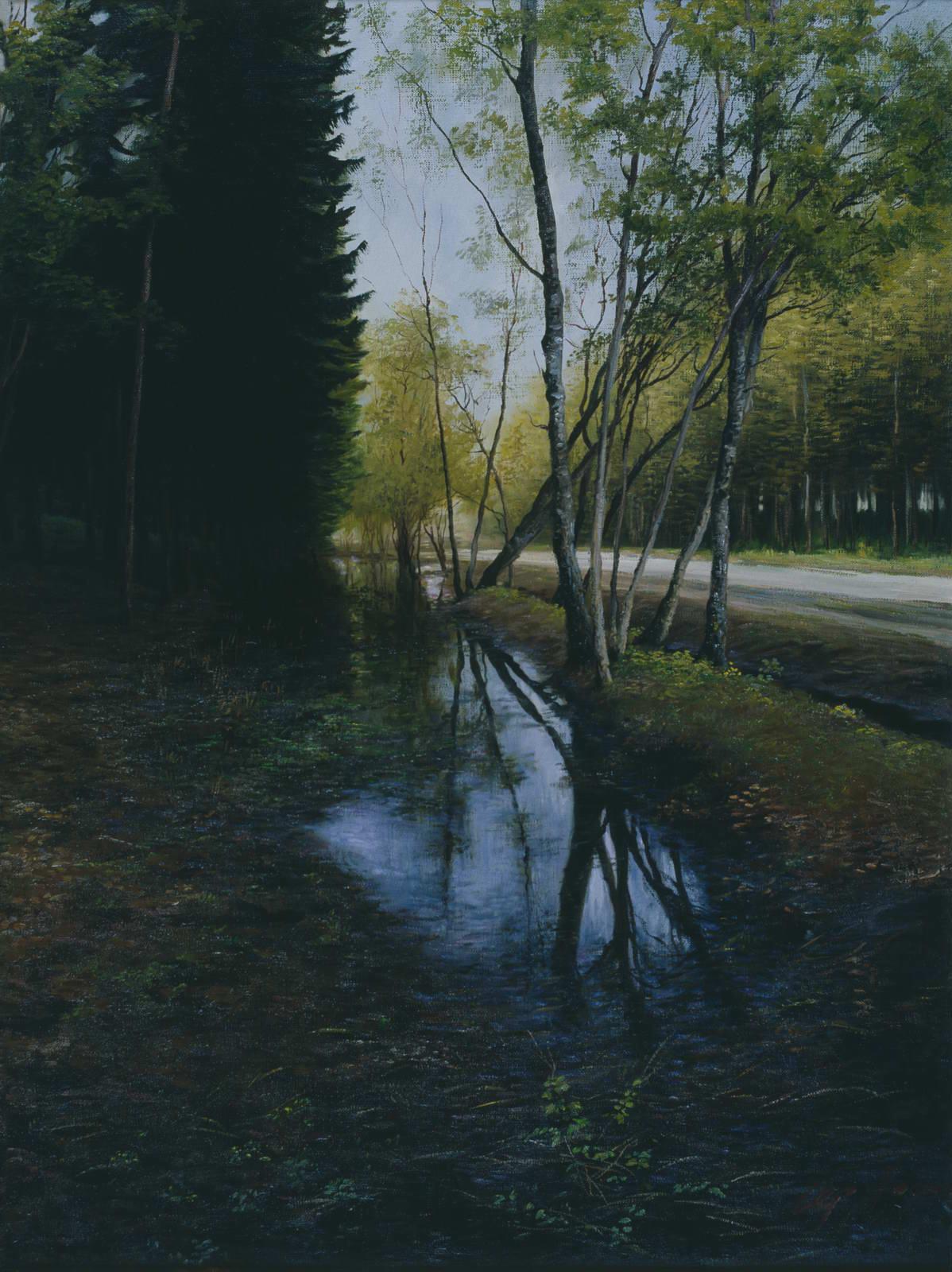 """Пейзаж с берёзами"" - х.м. (80х60) - 2002 г"