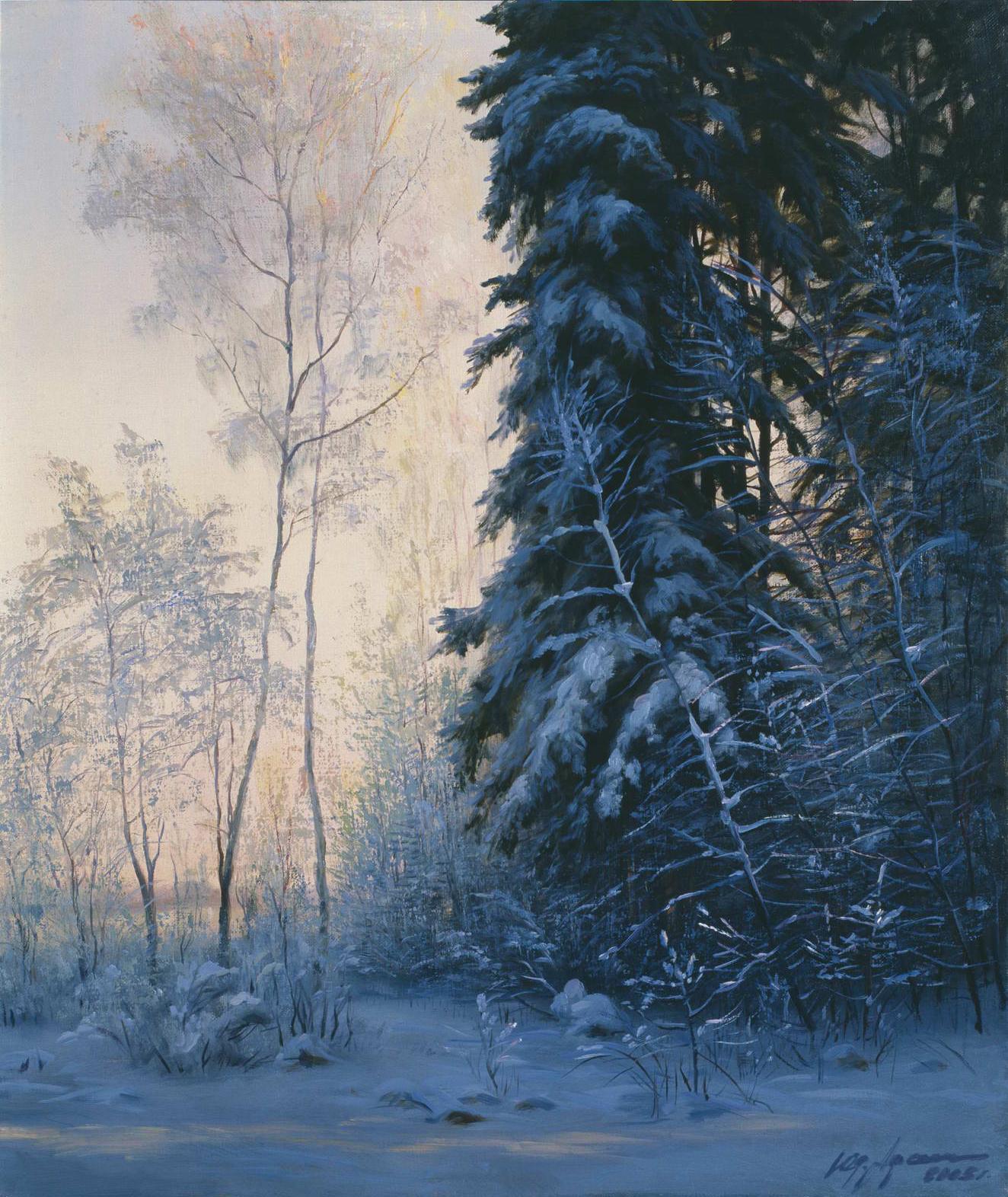 """""""Зима на даче"""" - х.м. (45х28) - 2003 г"""