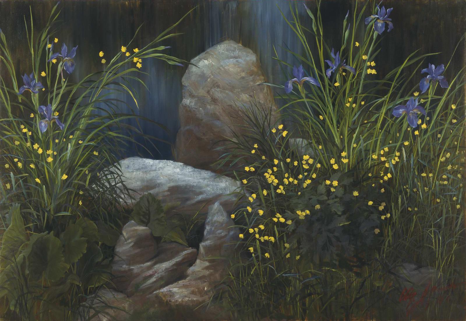 """""""Цветы и камни"""" - х.м. (110х150) - 1996 г"""